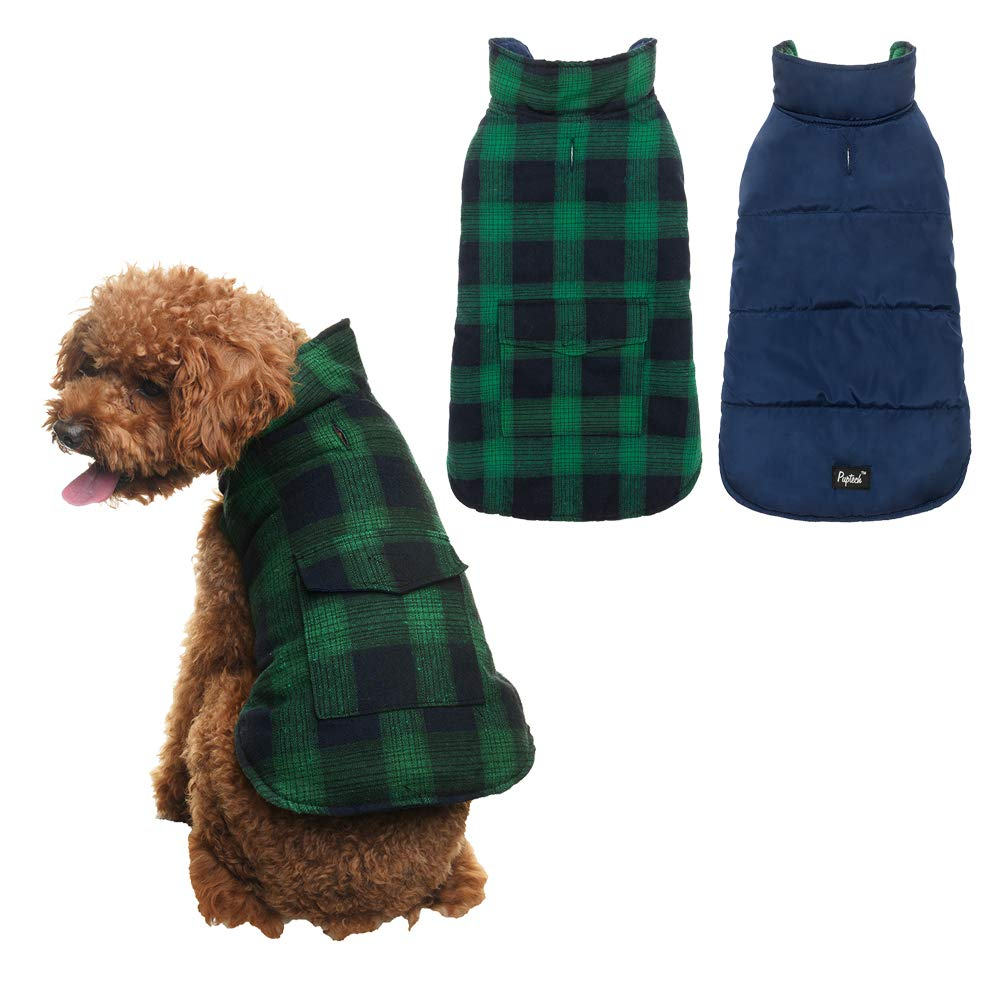 bluee&Green S bluee&Green S PUPTECK Soft Warm Wind-Proof Water-resisant Dog & Cat Winter Coat