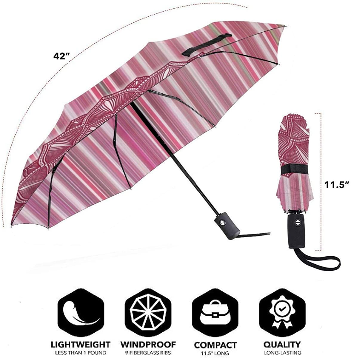 Mandala Vintage Scrapbook Pink Compact Travel Umbrella Windproof Reinforced Canopy 8 Ribs Umbrella Auto Open And Close Button Customized