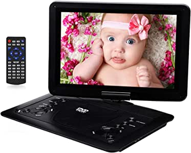 YOOHOO Portable DVD Player with 6 Hours Rechargeable Battery,Swivel Screen,Remote Controller,Supports SD Card, USB Port and Multiple Disc Formats 14.1 inch