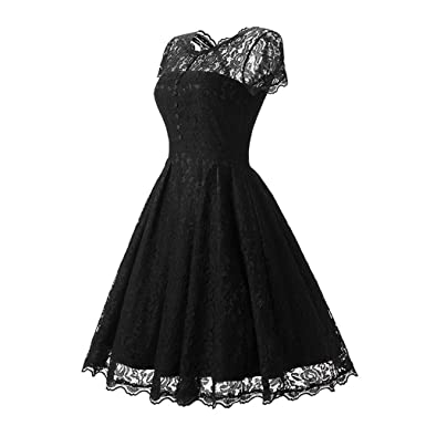 VADOLY Womens Summer Lace Dress New Vintage O Neck Slim Pin up Rockabilly Vestidos Party Black