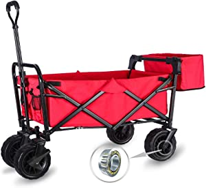 "WHITSUNDAY Collapsible Folding Garden Outdoor Park Utility Wagon Picnic Camping Cart with Wheel Bearing and Brake (Standard Size(Plus+) 8"" Heavy Duty Wheels, Red)"