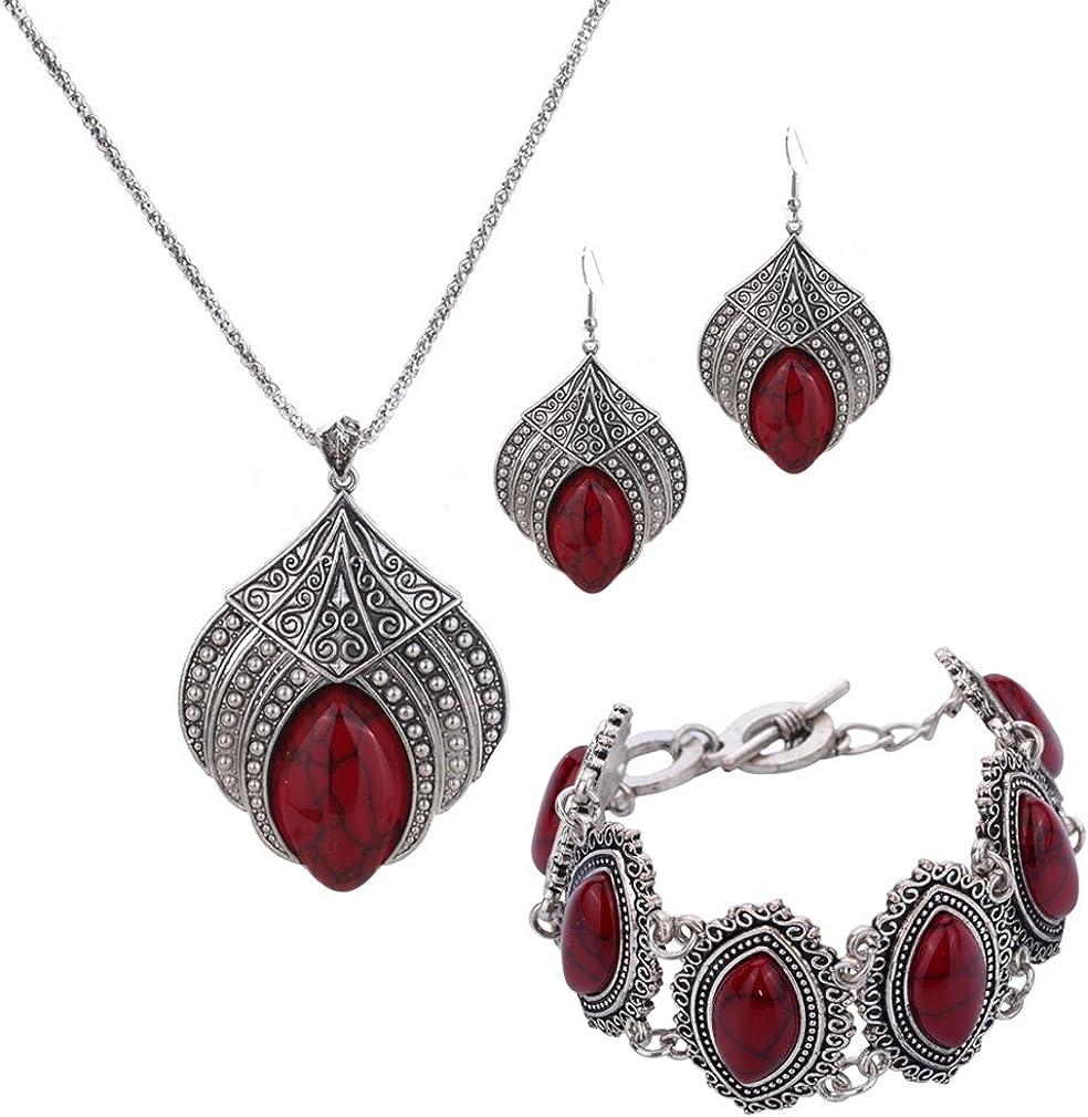 Yazilind - Joyas de diseño especial, conjunto retro con turquesa engarzada, collar con colgante de flor bañado en plata pendientes y pulsera