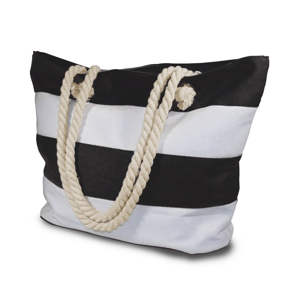 Beach Bag With Inner Zipper Pocket from Moskus Gear - Mesh Cotton Striped Pool Tote & Amazing Bonus Phone Dry bag