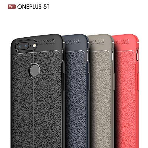 OnePlus 5T Funda, LifeePro Ultrafino Suave TPU Silicona Funda Patrón de cuero Cubierta de la caja trasera de Protección completa Protector Bumper Shell para OnePlus 5T (Navy) Negro