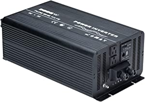 Naturehike Pure Sine Wave Power Inverter Truck/RV Inverter 12V DC to 110V AC with Dual AC Outlets, USB Ports & Remote Controller for RV Trucks Boats and Emergency (3000W)