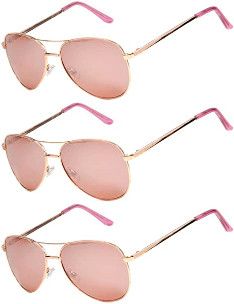 01aede909b 3 Pairs Classic Aviator Style Sunglasses Metal Frame Colored Lens (3 Gold  Rose Mirror