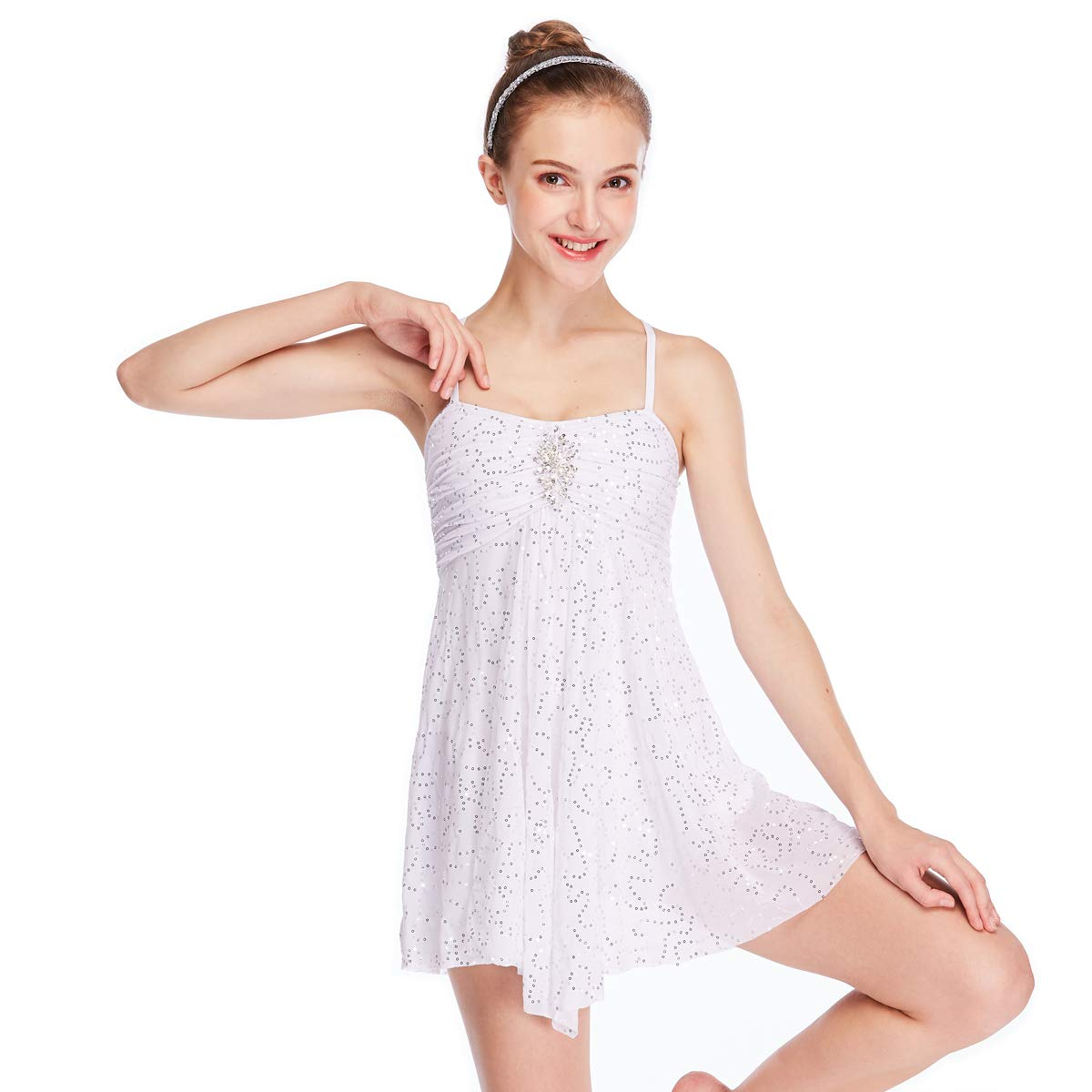 df9af7f8f MiDee Dance Costume Lyrical Dress Full Sequins Camisole Ice Skating Dresses  (MA, White)