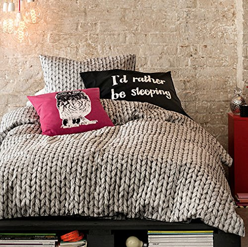Cable Knit Pattern Cotton Duvet Quilt Cover Modern Knitted Print in Gray 3pc Set (King)