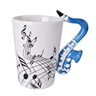 Novelty Saxophone Handle Music Mug Unique Art Musical Notes Holds Tea Coffee Milk Ceramic Mug Cup 300ml Best Gift,Black