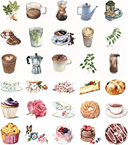 92PCS Cake Coffee Afternoon Tea Paper Stickers Kawaii Paper Stickers for Water Cup Stationery DIY Scrapbooking Diary Album Decals