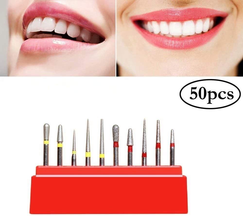50Pcs 1.6mm Diamond Burs Drill Set Carborundum Burr FG Polisher Red