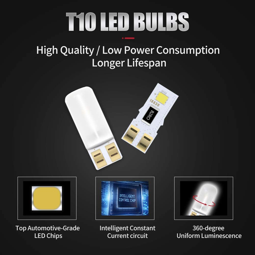 4WDKING 194 T10 LED Bulbs Xenon White 6000k Super Bright LED Replacement Bulbs for Car Interior Dome Map Door Courtesy License Plate Lights Compact Wedge W5W 2835 10 Pcs