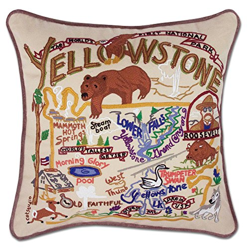 Catstudio Hand-Embroidered Throw Pillow - Yellowstone by Catstudio Embroidered Pillow