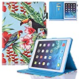 New iPad Case Smart Leather Case - UNOTECH Card Slot Protective Case with Pen Holder Wake/Sleep Function for New iPad Pro 10.5 2017, Bird