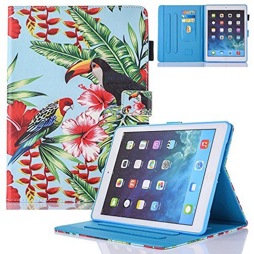 New iPad Case Smart Leather Case - UNOTECH Card Slot Protective Case with Pen Holder Wake/Sleep Function for New iPad Pro 10.5 2017, Bird by UNOTECH