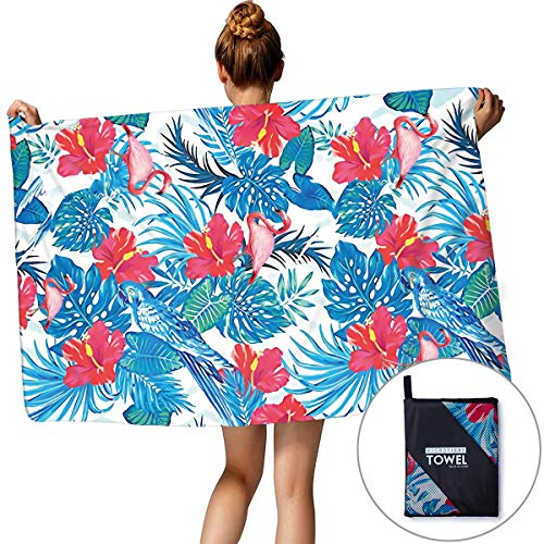 TUONROAD Cute Designer Family Size Living Bath Towels for Home Gym Sports Pink Flamingos Blue Monstera Portable Natural Yoga Mat Beach Blankets with Zip Bag for Outdoor Travel Holiday Hiking Camping