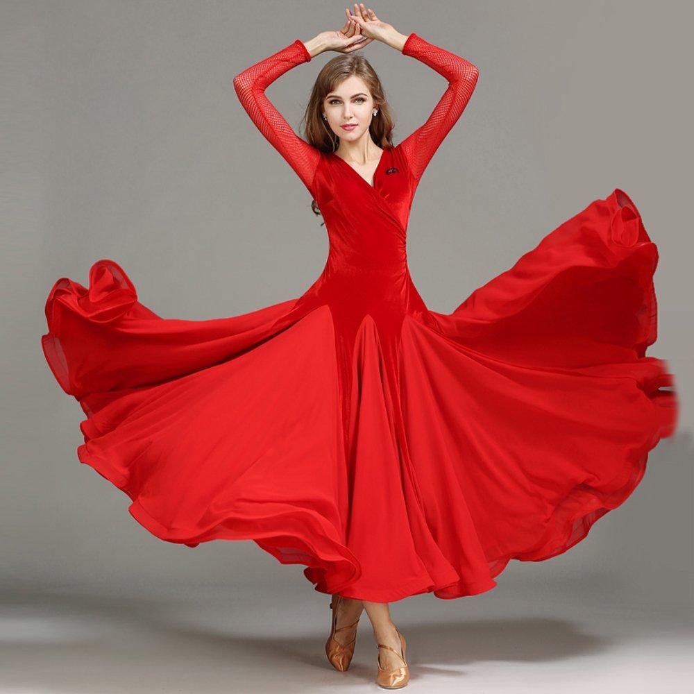 Liu Sensen Modern Lady Velluto Moderna Danza Abito Grande Pendolo Tango E Valzer Ballo Vestito Danza Gonna Maniche Lunghe Filo Sottile Dancing Costume