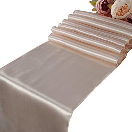 2651234d84711 Amazon.com: Champagne Satin Table Runners - 10 pcs Wedding Banquet ...