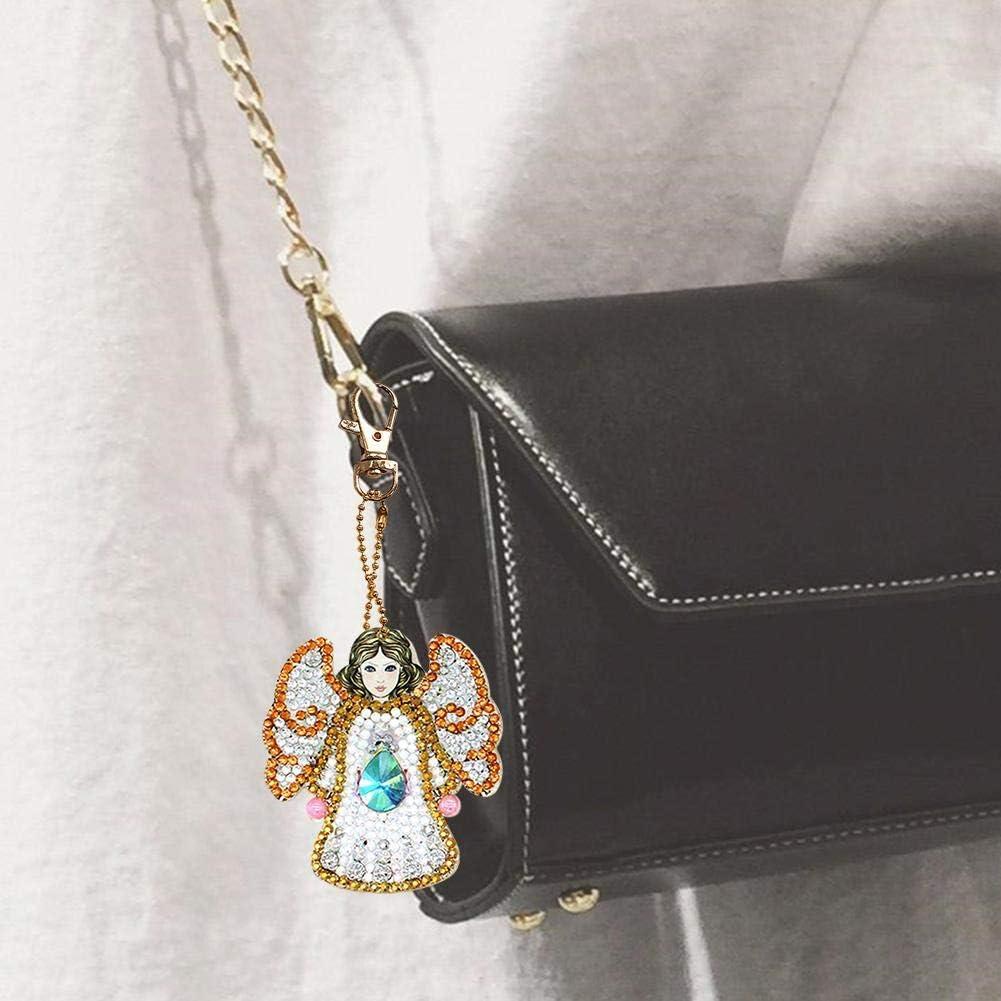 Domybest 5pcs Porte-Cl/és No/ël DIY Diamand Painting Porte-cl/és Color/és Peinture Diamant Complet pour Femmes Filles Sac Voiture Charmes Pendentif Cadeau