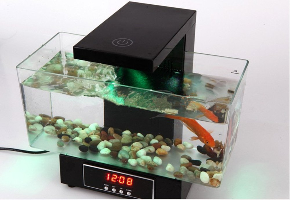 Black Fish Tank Aquarium LED Lights Desktop Aquarium USB FA30198