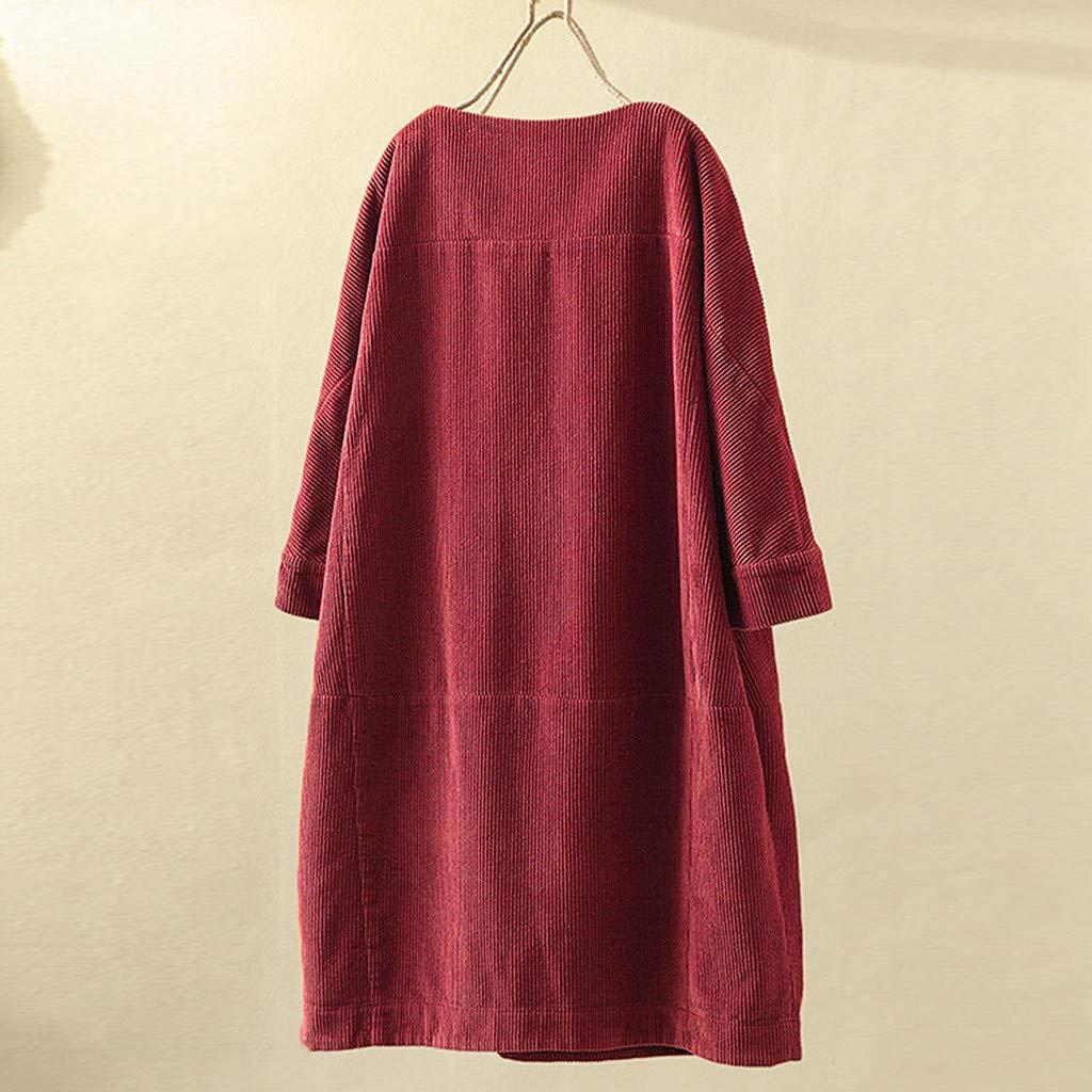 M-5XL WARMWORD Mujeres Bolsillos Vintage Pana Color s/ólido Cuello Redondo Manga Larga Vestido Informal Suelto Moda Retro Mini Vestido Elegante Vestido de Invierno