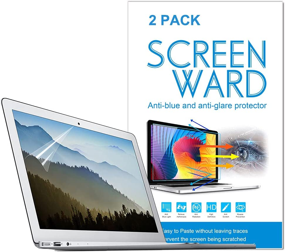 2 Pack Anti Blue Light Anti Glare Screen Protector Compatible with MacBook Air 13 13.3 model A1369 A1466 A1304 A1342 A1181 with Retina Display and Touch ID,Eye Protection Blue Light Blocking for MacBook Air 13 InchTouch Bar Screen Protector, Anti Glare Filter Filmand Anti Fingerprint Shield