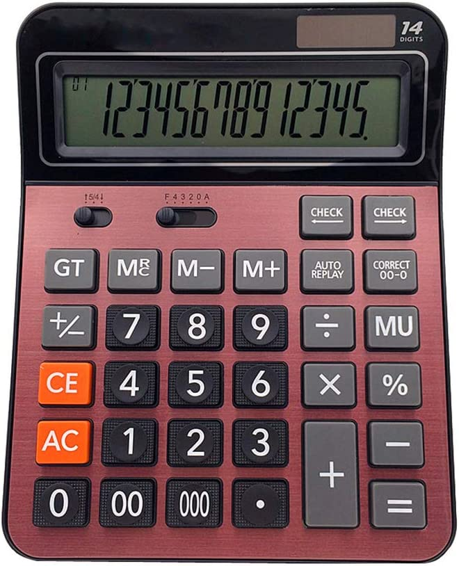 Meichoon Solar Battery Calculator Dual Power Large Standard Function Desktop Business Calculator with 14 Digit Large LCD Display Convenient for Office & Home KA06 Red