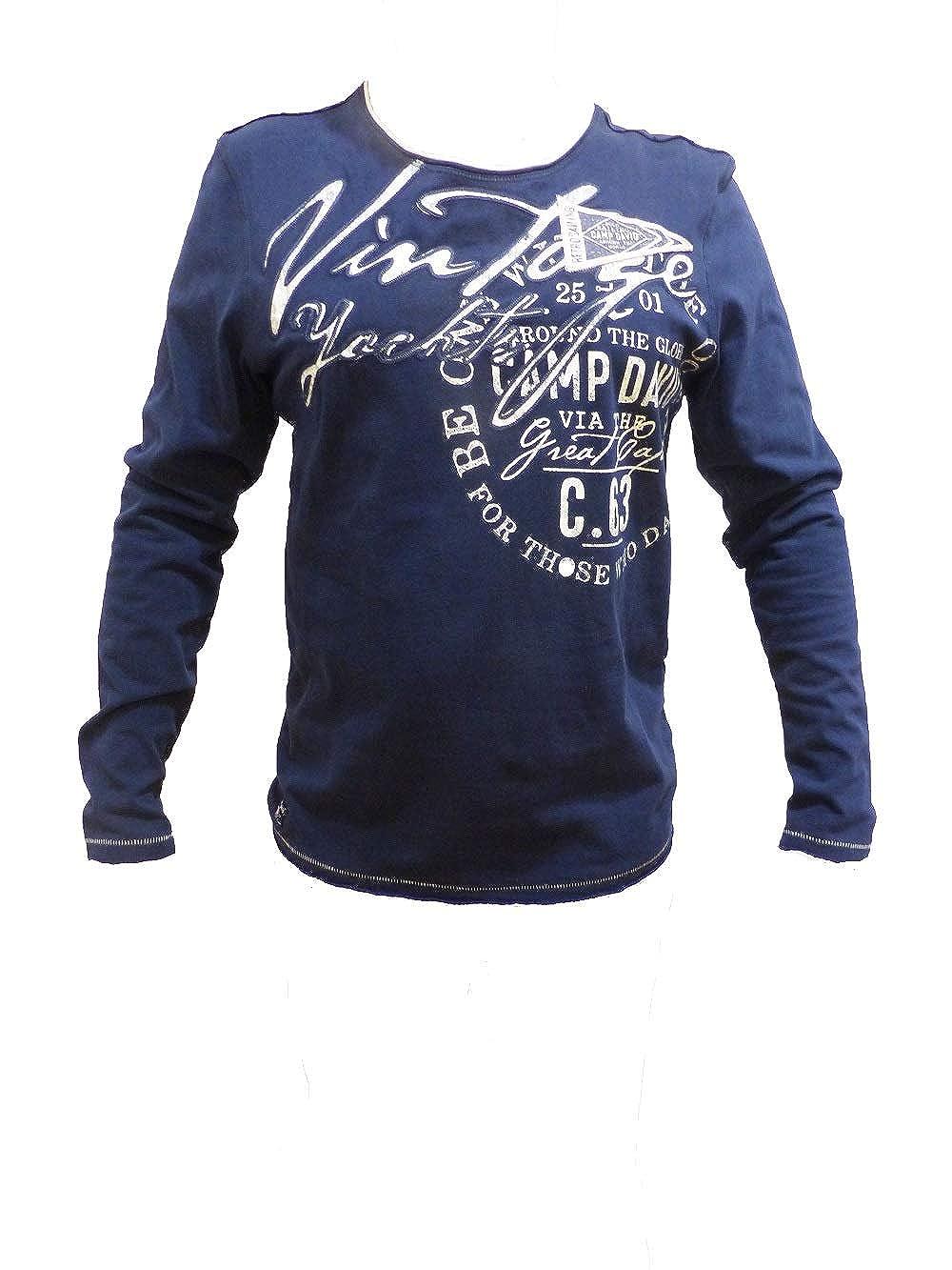 Camp David Langarmshirt mit Artwork und Raw Edges Edges Edges B07NDZBNMC Langarmshirts Hohe Sicherheit 558876