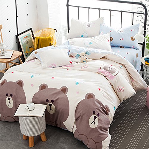4pcs/set 100% Cotton Children One Duvet Cover Without Comforter One Flat Sheet Two Pillow Case Animal Designs Bedding Room Family Gift (Queen, Cute Bear Beige) (Cute Bed Sheets)