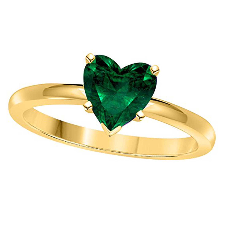 Suhana Jewellery Heart Shape Green14K Yellow Gold Fn Alloy /& Simulated Diamond Studded Engagement Wedding Ring
