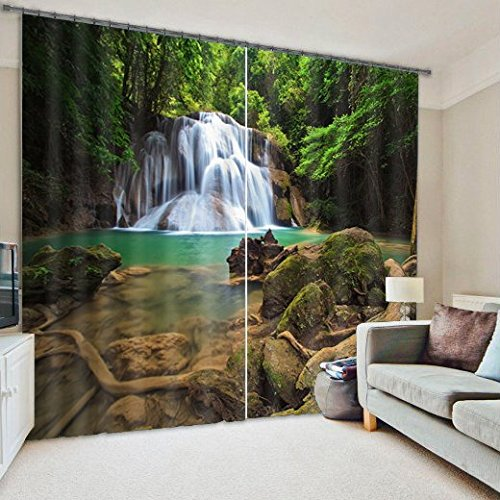 Ammybeddings Blackout Curtains,Green 3D Deep Forest Waterfall Print Room Darkening Window Treatment Panel Drapes,Polyester Thermal Curtains,2 Panels,104″ W By 95″ L Review