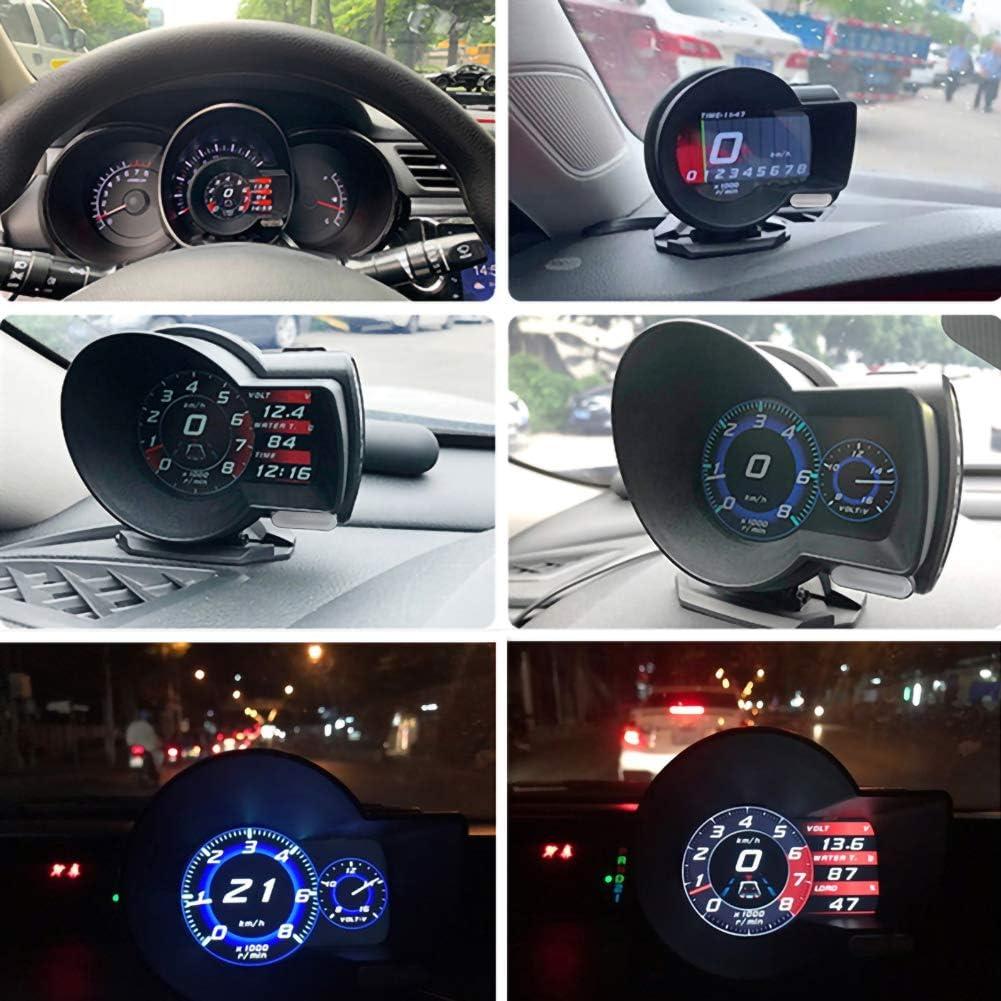 LAOOWANG Auto HUD Disaplay LCD Digital Tachometer Kilometerz/ähler Scanner Diagnosewerkzeug Wassertemperaturanzeige Digitale Spannung f/ür Fahrzeuge