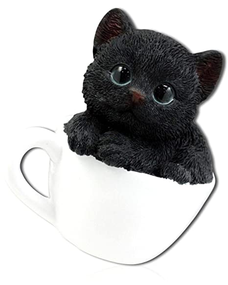 Life Like Figurine Statue Home//Garden NEW Tea Cup Orange Grey Kitten Cat