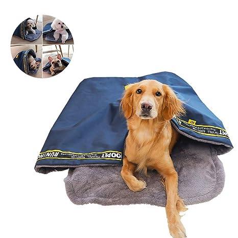 Niocase Saco de Dormir para Mascotas Cama para Perro Cálido Portátil Impermeable Oxford Tela Antideslizante Parte