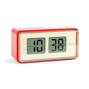 Balvi B:ON - Flip Despertador Digital de Tipo Flip. Pantalla de LCD, imita el Movimiento de un Reloj Flip.Color Rojo.: Amazon.es: Hogar