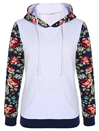 Halife Women's Floral Printed Long Sleeve Hooded Pullover Hoodies ...