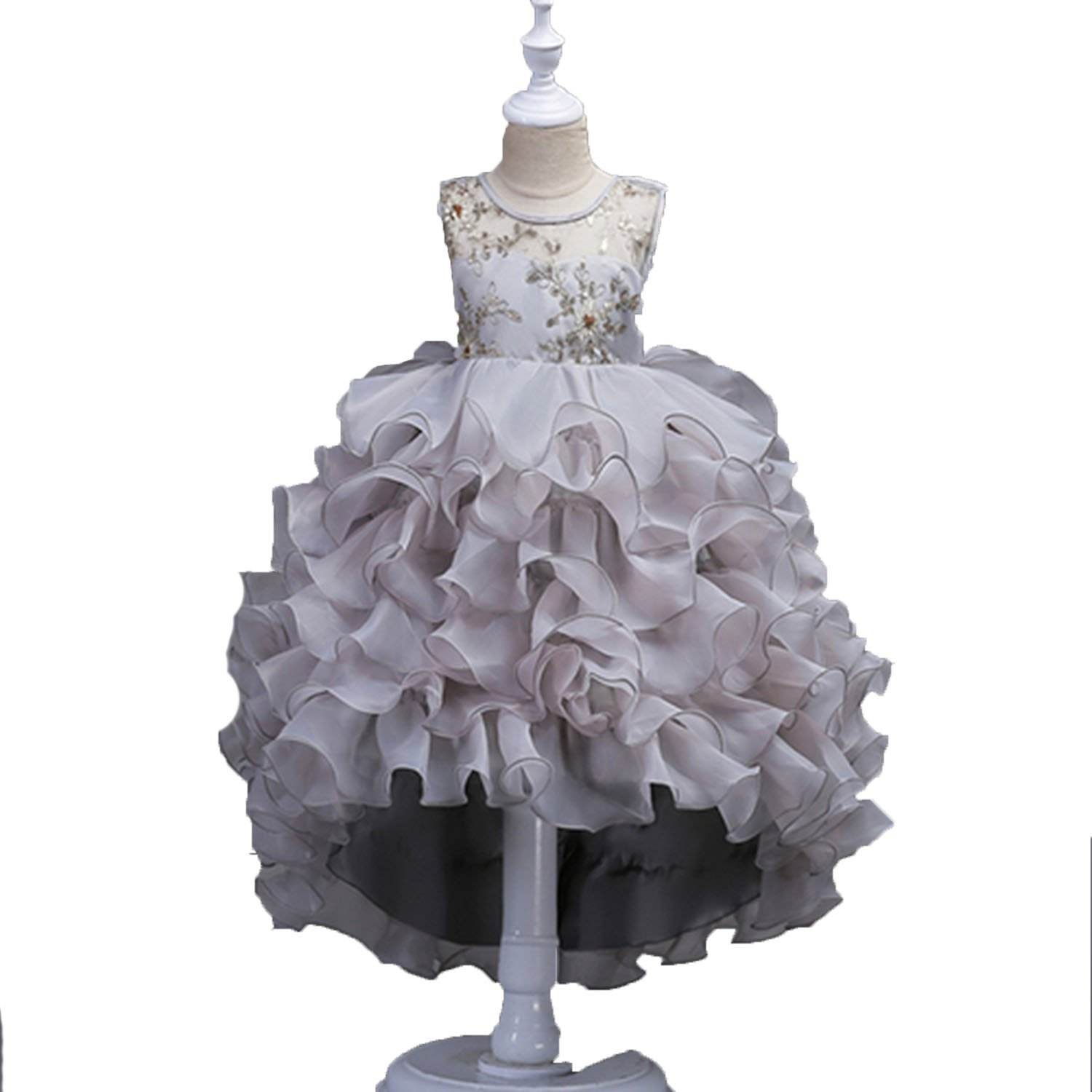 Pretty Sheer O-Neck Ball Gown Flower Girl Dresses High Low Lace Ruffles Kids Evening Gowns Wedding Party Dresses,Silver,Child-8