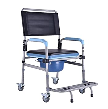 HKNC Folding Portable Shower Chair Commode Mobile Commode and Wheelchair Toiletwith Wheels and Brakes  sc 1 st  Amazon.com & Amazon.com: HKNC Folding Portable Shower Chair Commode Mobile ...