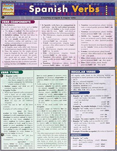 Spanish Verbs (Laminated Reference Guide; Quick Study Academic) by Inc. BarCharts