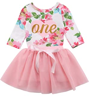 5d662af6b904 Baby Girls  1st Birthday Tutu Dress Sleeveless Floral Romper Top Lace Skirt  Clothes Easter Outfit