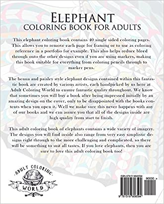 Elephant Coloring Book For Adults An Adult Of 40 Patterned Henna And