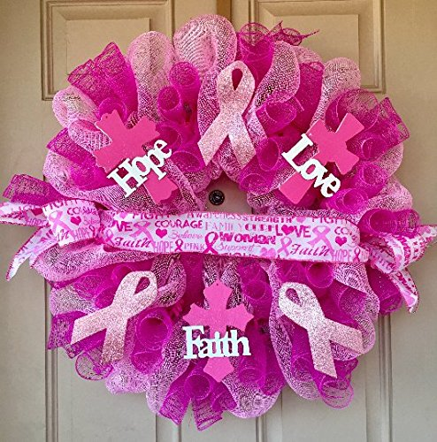Breast Cancer Awareness Wreath with Wooden Hope, Love, Faith Crosses, Glittered Support Ribbons, Unique Breast Cancer Ribbon and Mesh Curls