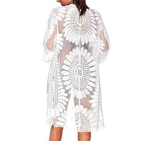 Dxlta Cover Up para mujeres - Blusa de bikini con blusa bordada con encaje de flores