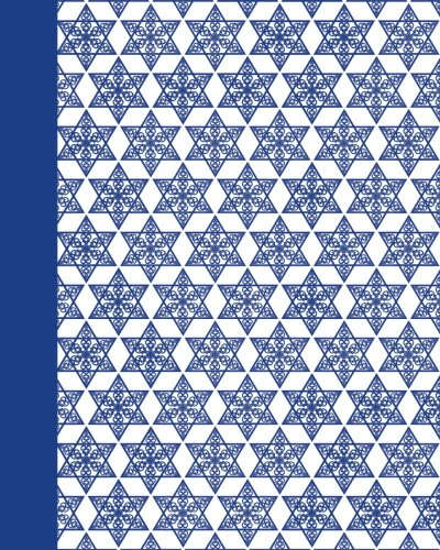 Journal: Mogen David Pattern (Blue) 8x10 - LINED JOURNAL - Journal with lined pages - (Diary, Notebook) (8x10 Holiday Lined Journal Series)