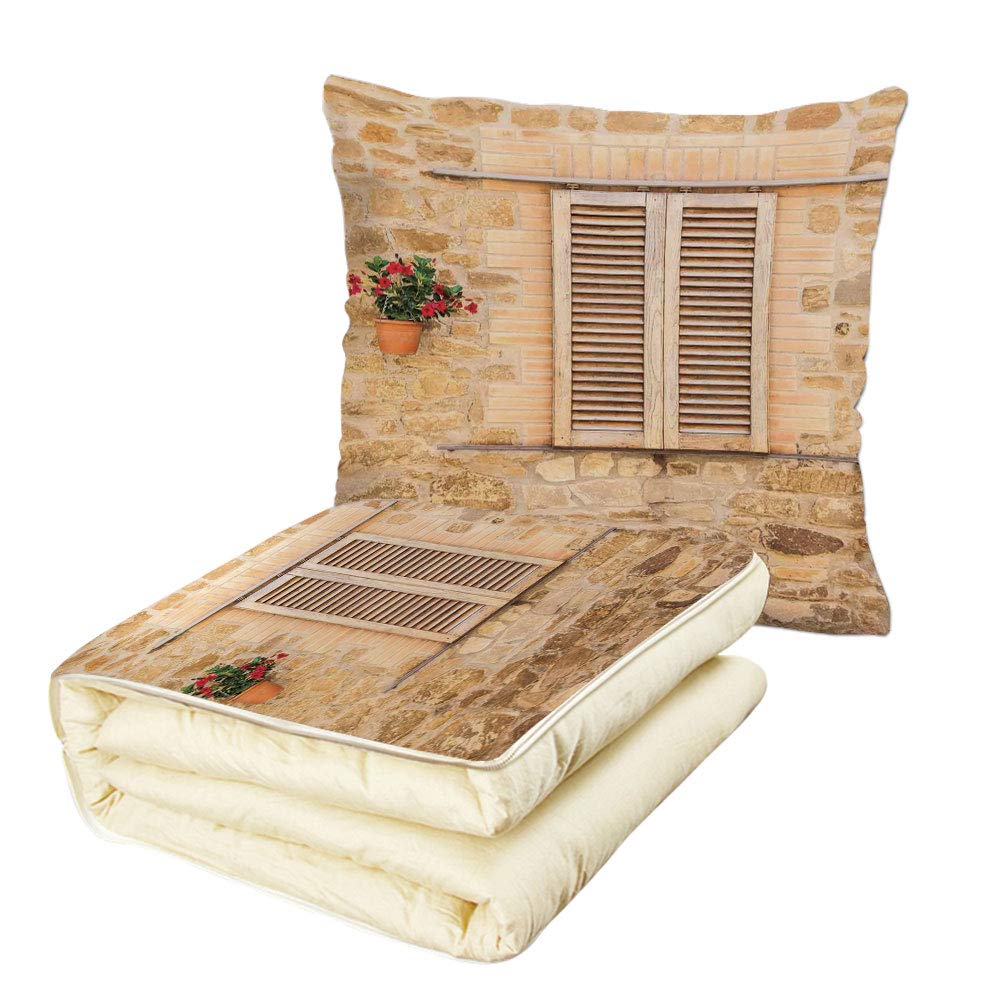 iPrint Quilt Dual-Use Pillow Tuscan Rustic Stone House and Window Shutters Flower Pot on Wall Italian Country Home Theme Multifunctional Air-Conditioning Quilt Beige