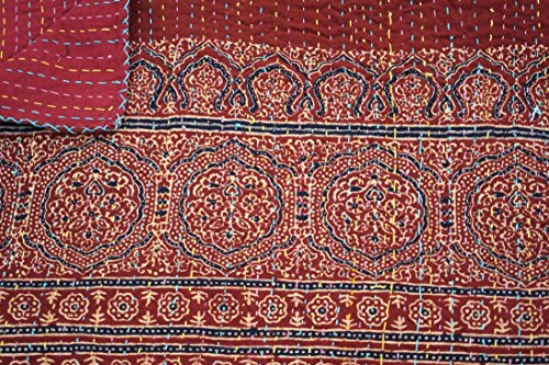 Cotton Indian Quilt Kantha Throw Ralli Gudri, Handmade Ajrakh Kantha Quilt 90x60 Inch, by The Ethnic Crafts (Image #2)