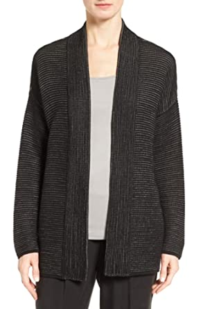 31662c8bfc7ac6 Eileen Fisher Silk-Blend Kimono Cardigan (Black, XS) at Amazon Women's  Clothing store: