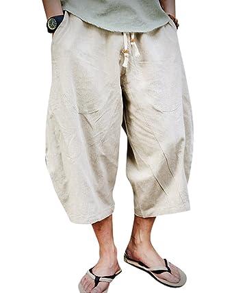 17def32c59e DianShaoA Homme Taille Elastique Sarouel Shorts Bermudas Pantalon Lâche  Pantacourt Léger Pantalon en Lin Beige M