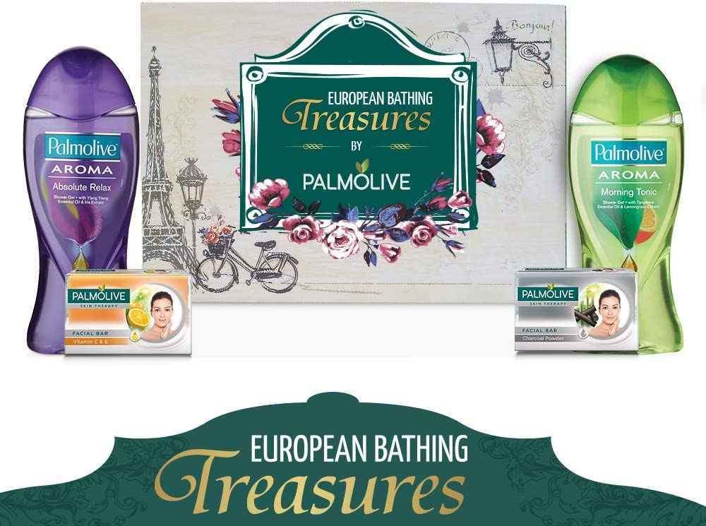 Palmolive European Bathing Treasures – Bathing Essentials Gift Pack ( Shower Gel, Facial Bar Soap)