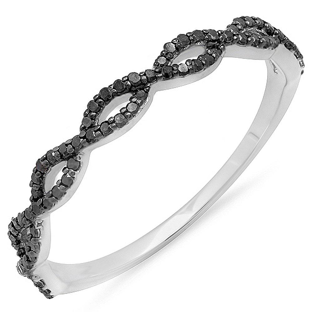 0.20 Carat (ctw) 10K White Gold Round Black Diamond Ladies Swirl Anniversary Wedding Band Stackable Ring 1/5 CT (Size 7)